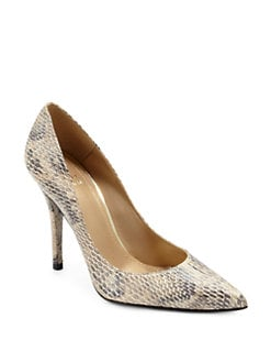 Stuart Weitzman - Naughty Snakeskin-Embossed Pumps