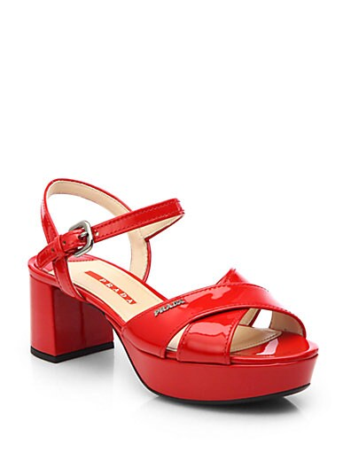 Patent Leather Crisscross Platform Sandals
