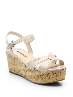 Prada - Patent Leather Cork Platform Sandals