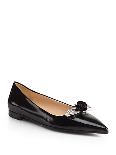 Bicolor Patent Leather Point-Toe Flats