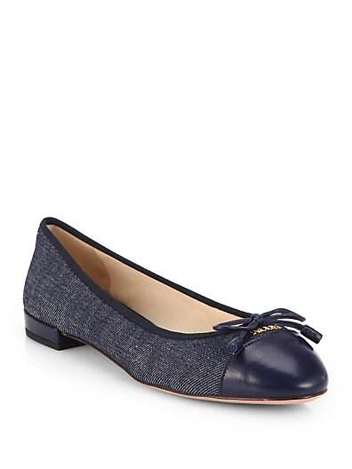 Denim  Leather Cap-Toe Ballet Flats