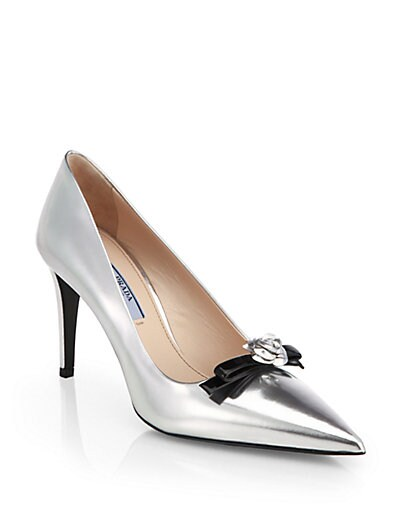 Metallic Leather Rose Bow Pumps