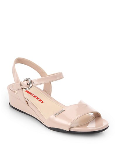 Crisscross Patent Leather Wedge Sandals