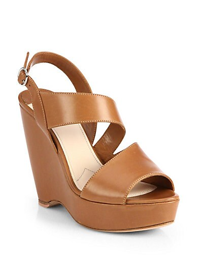 Asymmetrical Leather Wedge Sandals