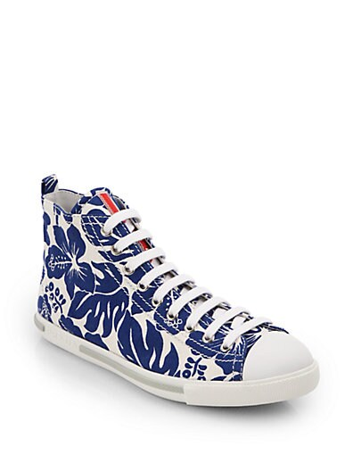 Sale alerts for Prada Hibiscus-Print Canvas High-Top Sneakers - Covvet