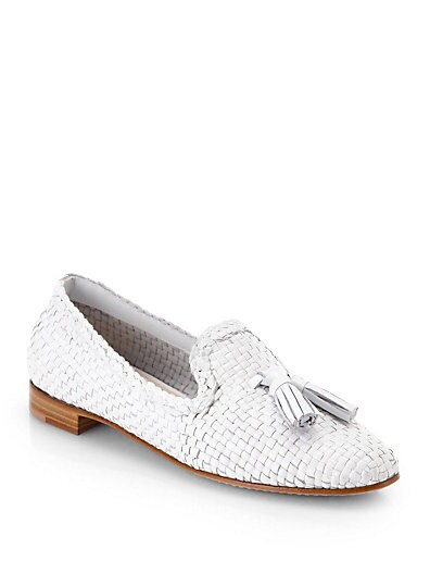 Woven Leather Tassel Loafers
