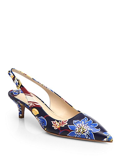 Floral-Print Leather Slingback Pumps