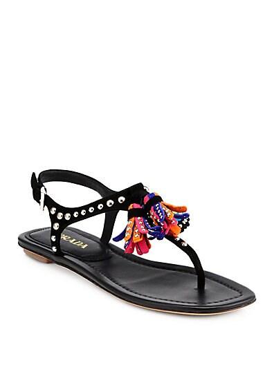 Studded Suede Tassel Sandals