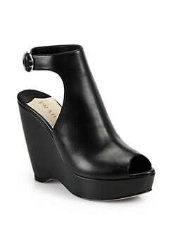 Prada - Leather Ankle-Strap Wedge Sandals