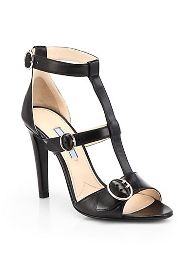 Leather T-Strap Buckle Sandals