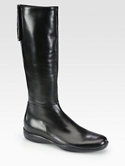 Prada - Leather Logo-Detail Boots
