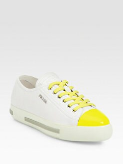 Prada - Bicolor Leather Lace-Up Sneakers