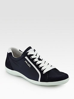 Prada - Suede & Leather-Trimmed Lace-Up Sneakers