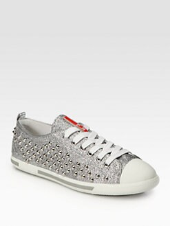 Prada - Studded Glitter Lace-Up Sneakers
