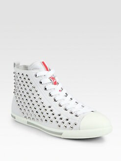 Prada - Studded Leather Lace-Up Sneakers