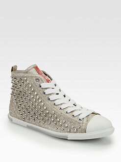 Prada - Studded Glitter High Top Sneakers