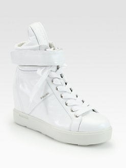 Prada - Patent Leather High Top Wedge Sneakers