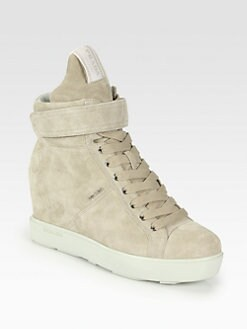 Prada - Suede Lace-Up Wedge Sneakers