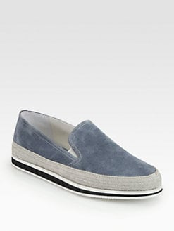 Prada - Suede Espadrille-Trimmed Loafers