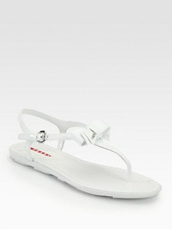 Prada - Patent Leather Bow Thong Sandals