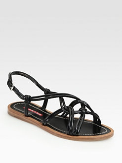 Prada - Knotted Leather Sandals