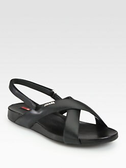 Prada - Leather Crisscross Slingback Sandals