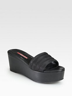 Prada - Mesh & Leather Wedge Slide Sandals