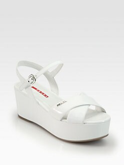 Prada - Patent Leather Crisscross Wedge Sandals