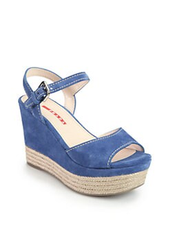 Prada - Suede Espadrille Wedge Sandals