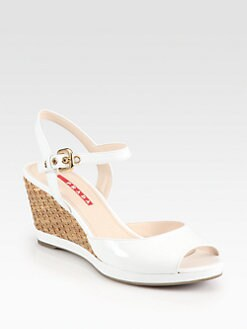 Prada - Patent Leather Wicker Wedge Sandals