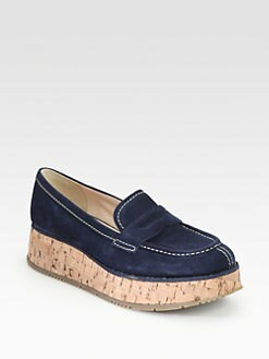 Prada - Suede Cork Platform Loafers