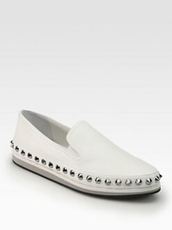 Prada - Studded Leather Loafers