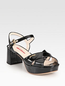 Prada - Patent Leather Crisscross Platform Sandals