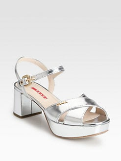 Prada - Metallic Leather Crisscross Platform Sandals