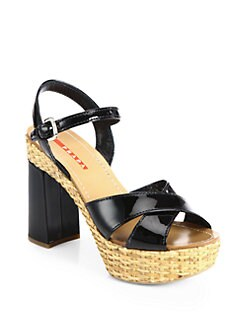 Prada - Crisscross Patent Leather & Wicker Platform Sandals