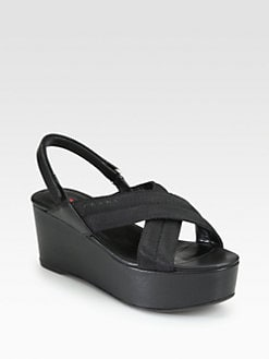 Prada - Mesh & Leather Crisscross Slingback Sandals