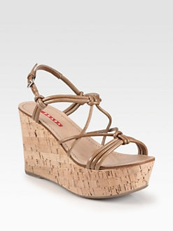 Prada - Knotted Leather Cork Wedge Sandals