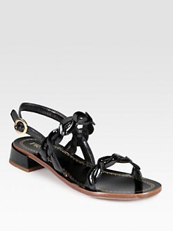 Prada - Patent Leather Crisscross Slingback Sandals