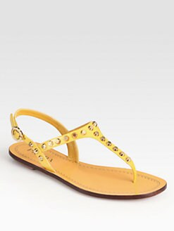 Prada - Studded Patent Leather Sandals