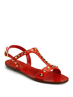 Prada - Studded Patent Leather T-Strap Sandals