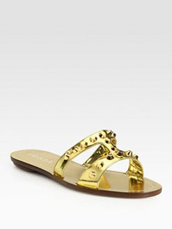 Prada - Studded Metallic Leather Sandals