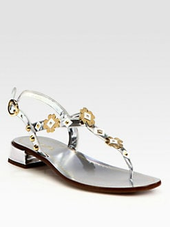 Prada - Metallic Leather Flower Appliqu&#233; Thong Sandals