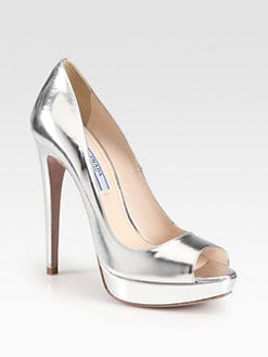 Prada - Metallic Leather Peep-Toe Pumps