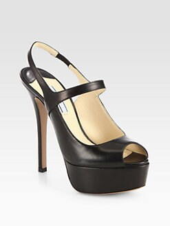 Prada - Mary Jane Leather Platform Pumps