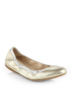 Prada - Bicolor Metallic Leather Ballet Flats