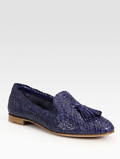 Prada - Woven Leather Tassel Smoking Slippers