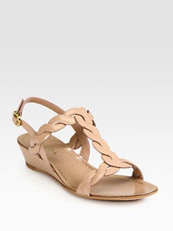 Prada - Patent Leather Demi-Wedge Sandals