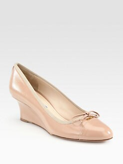 Prada - Saffiano Patent Leather Bow Wedge Pumps