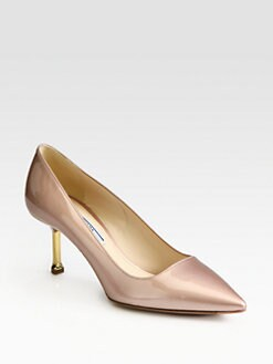 Prada - Metallic Patent Leather Metal Heel Pumps
