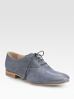 Prada - Leather Lace-Up Oxfords